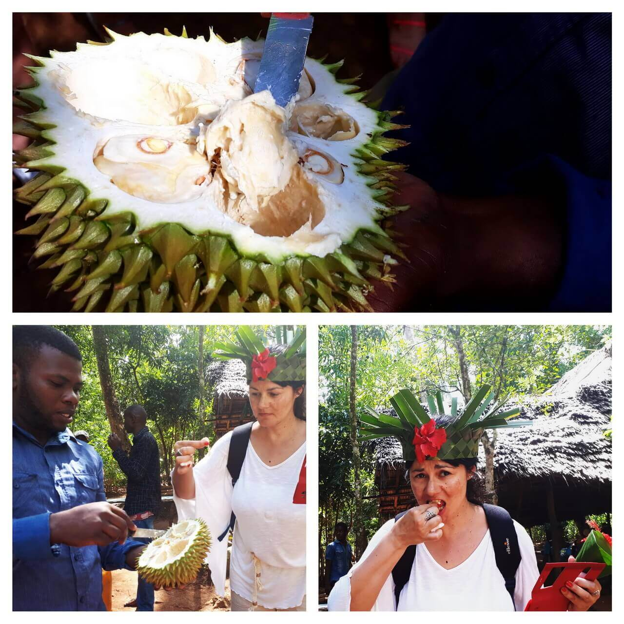 Tasting a durian fruit, Zanzibar farm