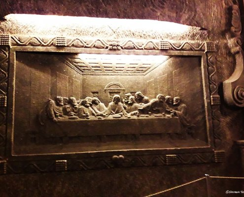 The Last Supper, carved into rock-salt wall, Wieliczka