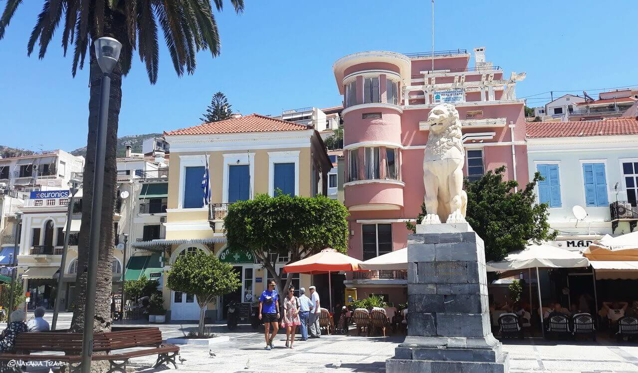 Pythagorion square with marble lion, Vathy, Samos