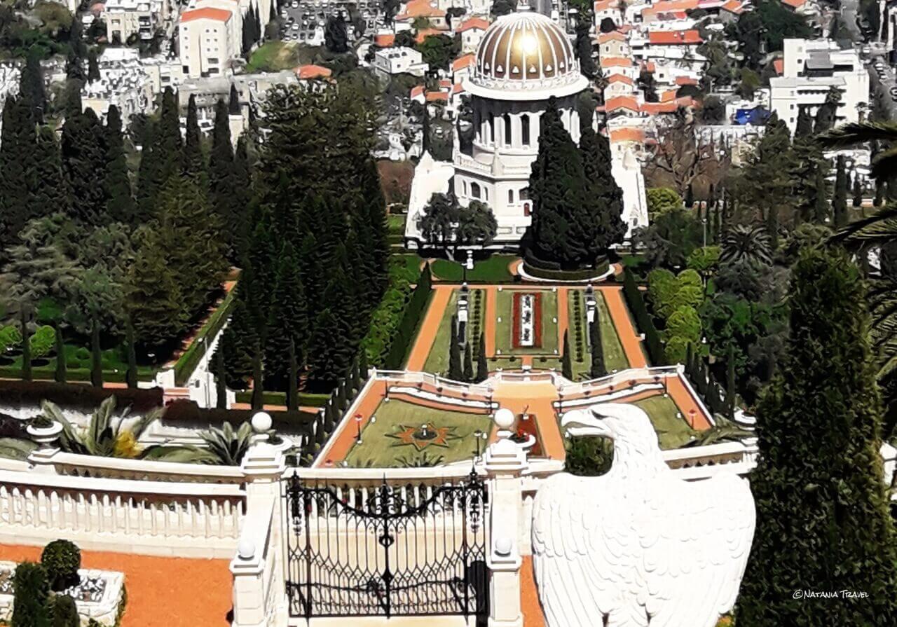 The golden-domed Shrine of the Báb in the Bahá'í Gardens, Bahajski vrtovi