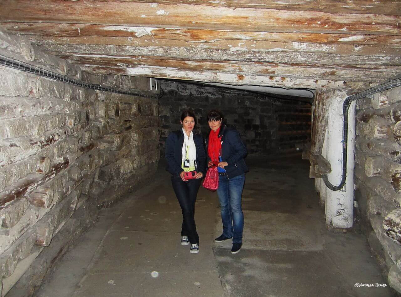 The corridor in the Wieliczka salt mine