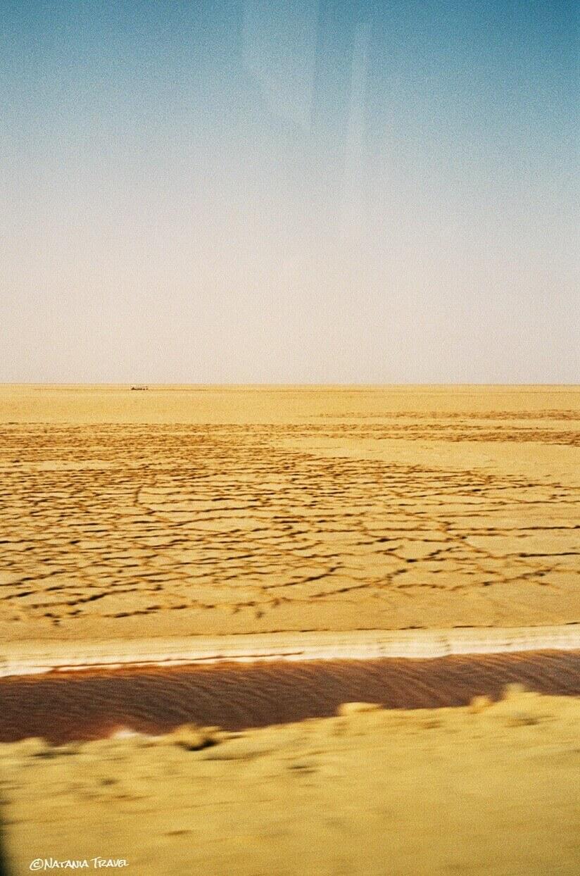 Stucked bus in the lake Chott el Jerid, Sahara