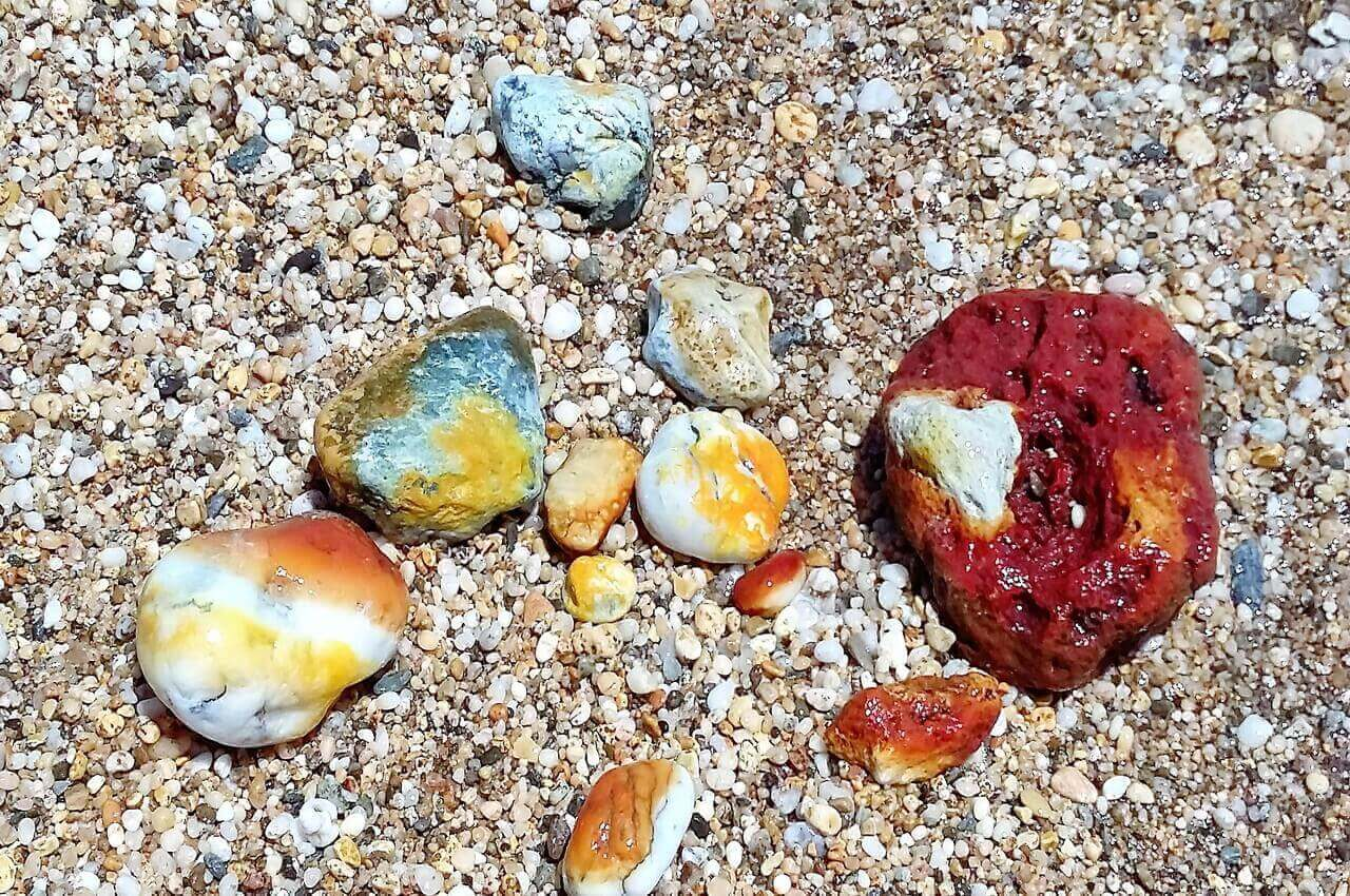 Volcanic colorful pebbles, Milos Paliochori beach