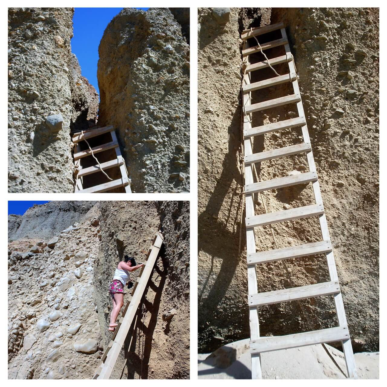 The wooden ladders on the Tsigrado beach