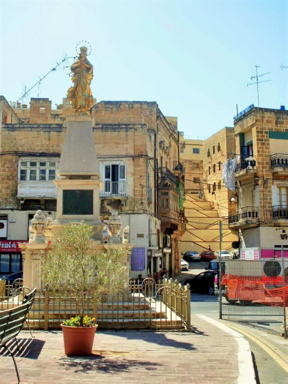 Cospicua, the statue of Holy Mary, zig-zag stairs, Three cities, Tri grada, Malta