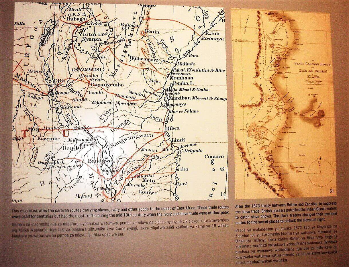 The map illustrates the caravan routes to the coast of East Africa