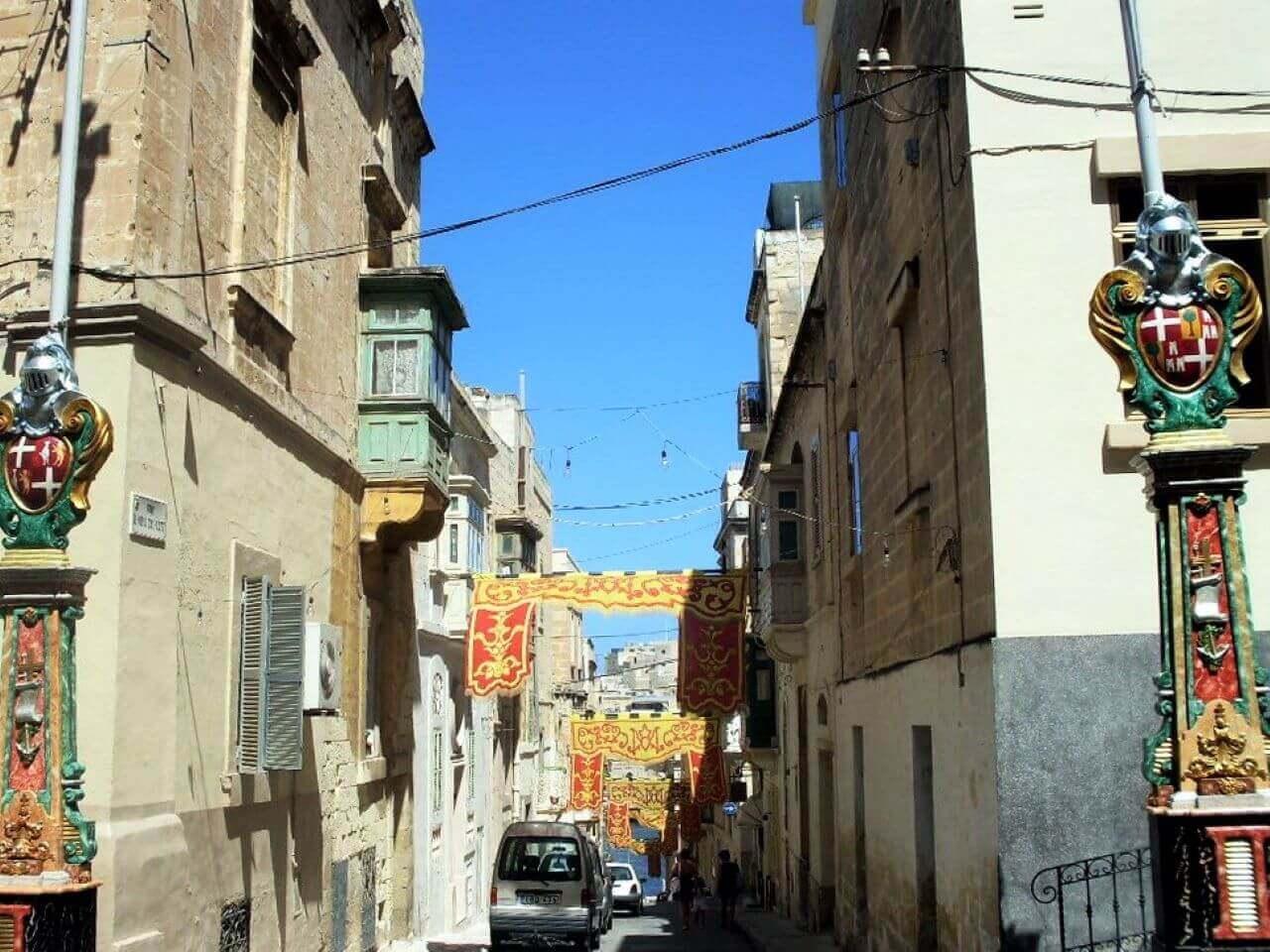 Decorated street, Senglea, Three cities, Tri grada, Malta