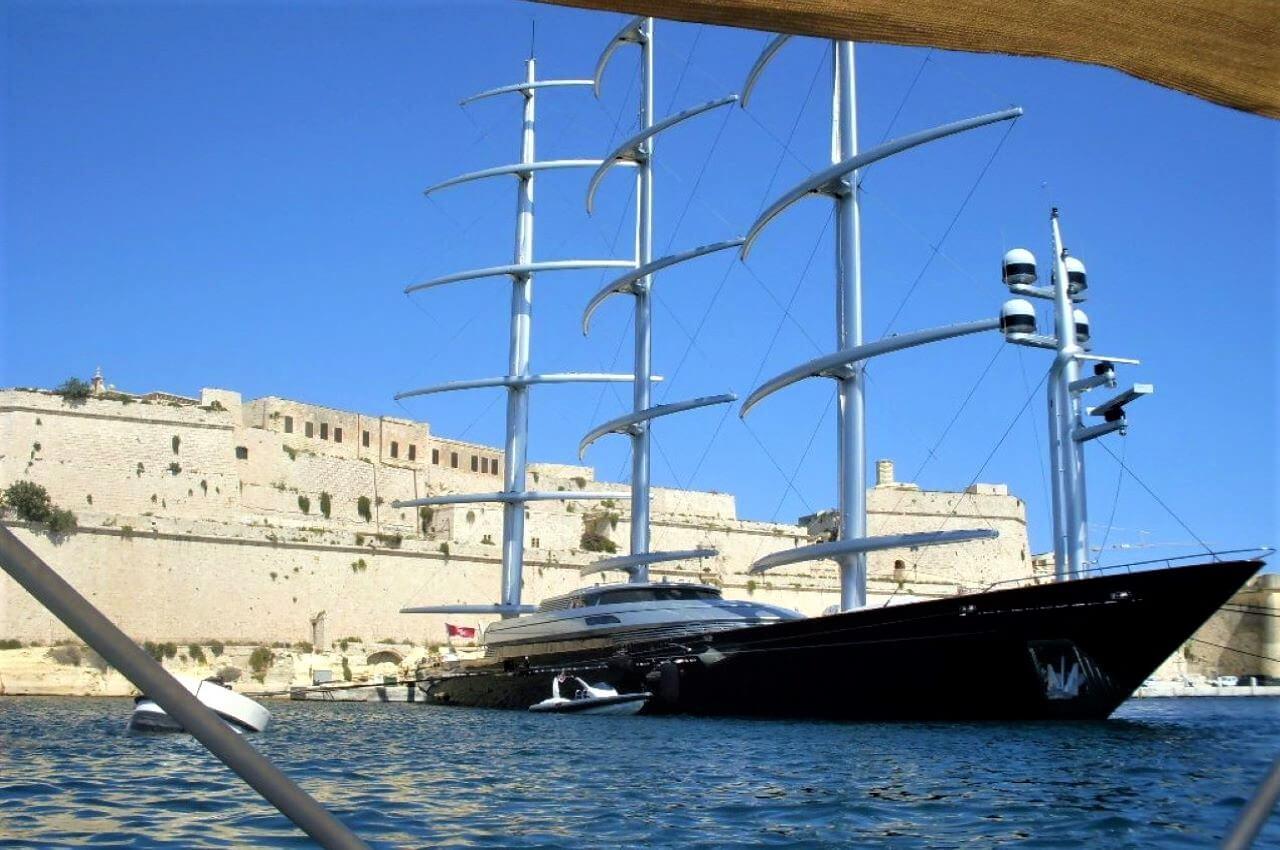 Maltese Falcon yacht in Grand Harbour, September 2012.