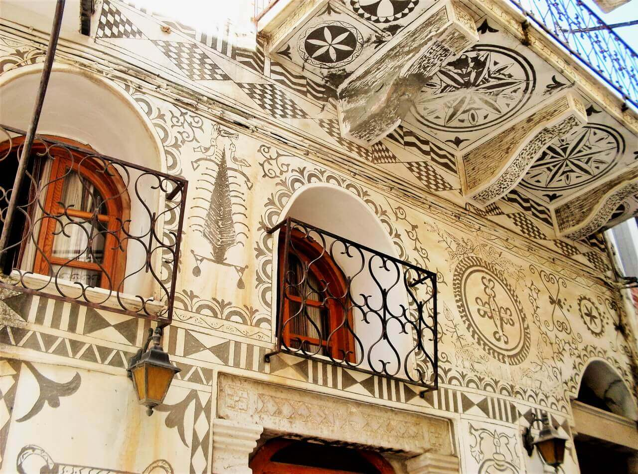Chios, Pyrgi facades, xysta shapes