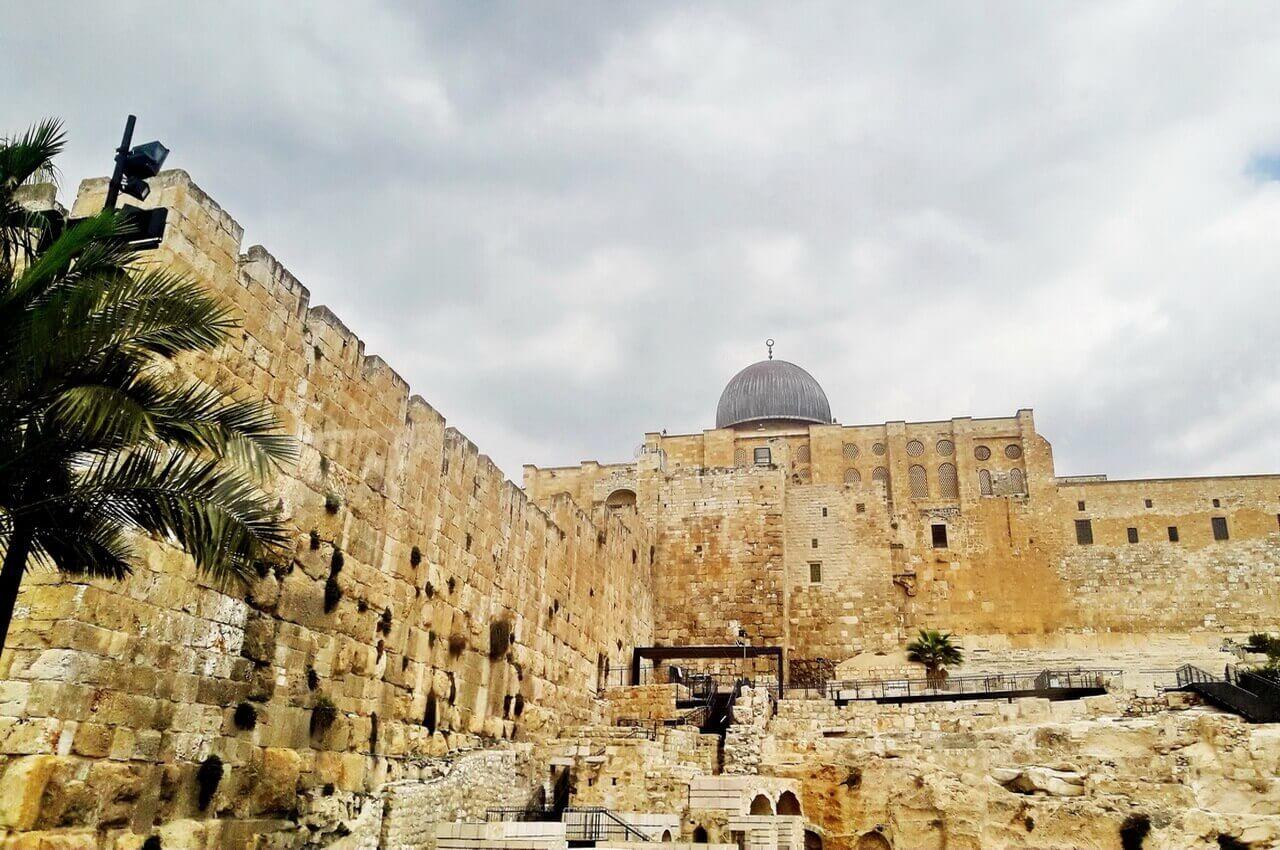 The walls around the Al-Aqsa mosque