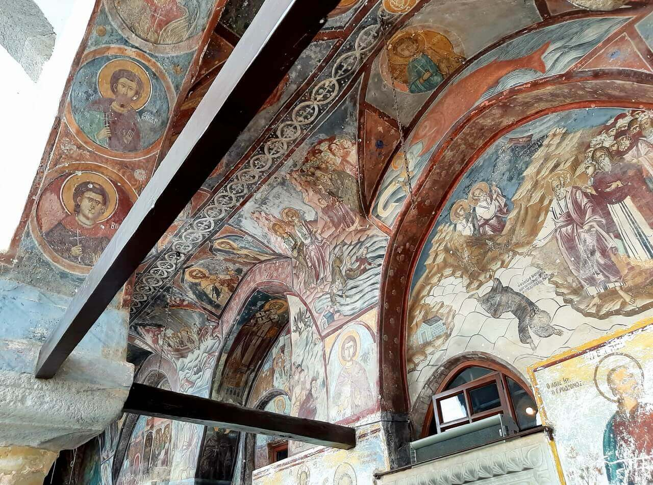 Frescoes on the walls of the St John monastery