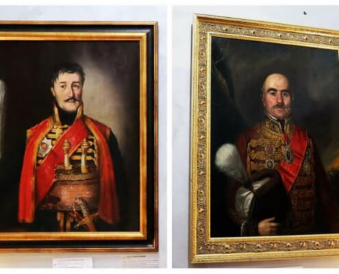 Portraits: Karadjordje and Prince Milos Obrenovic