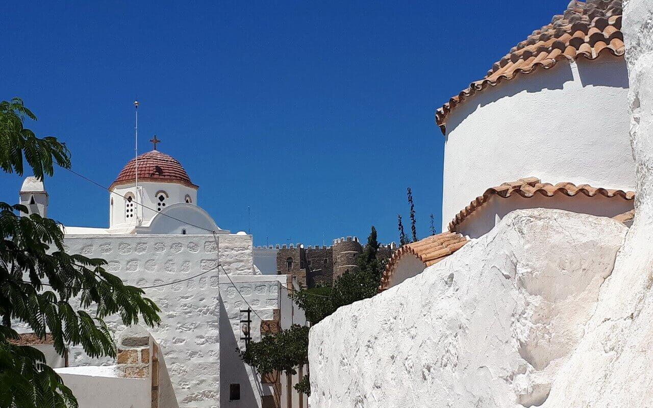 Patmos island Chora and St John monastery