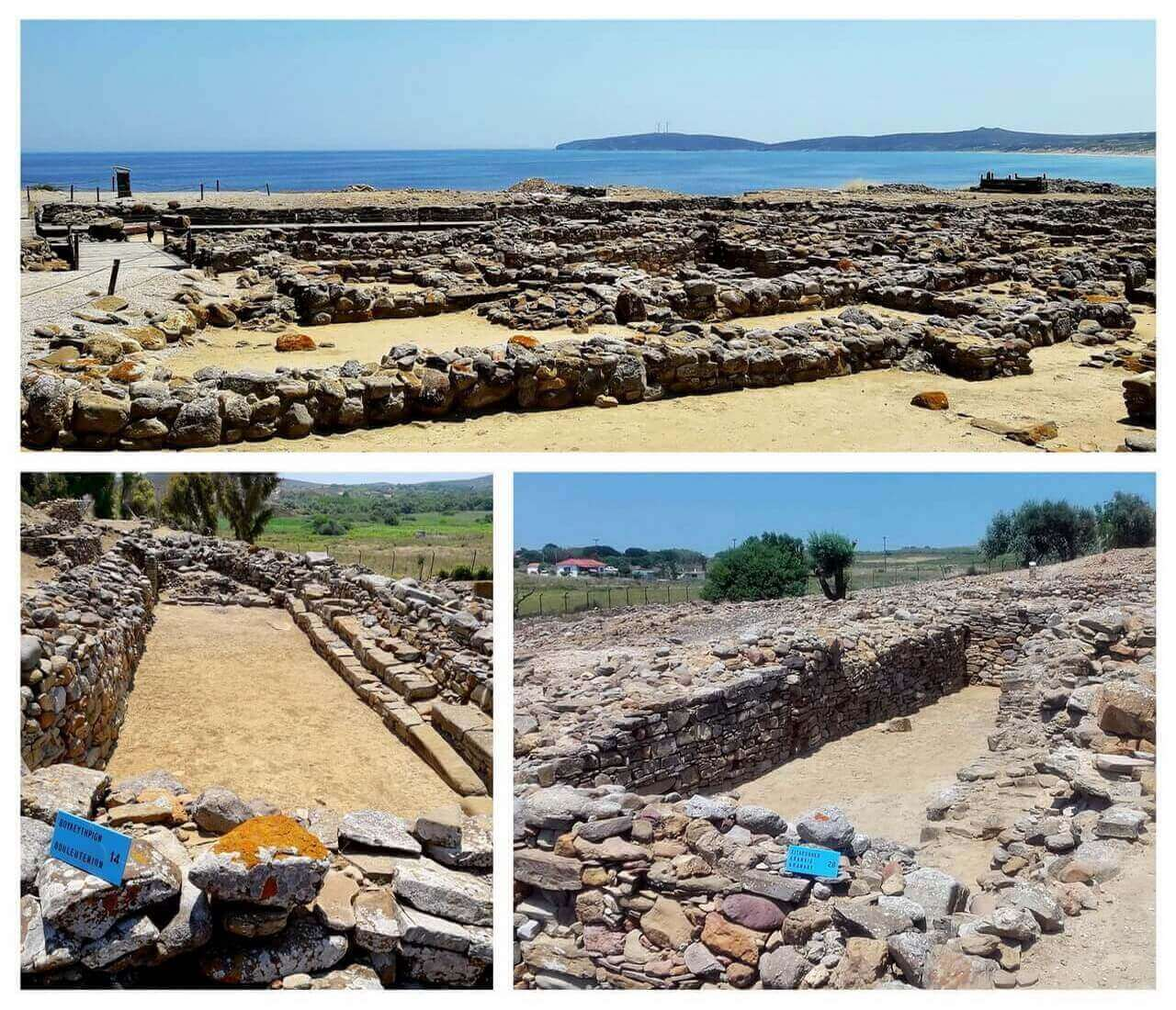 Ancient city of Poliochni: walls, the bouleuterion and the granary