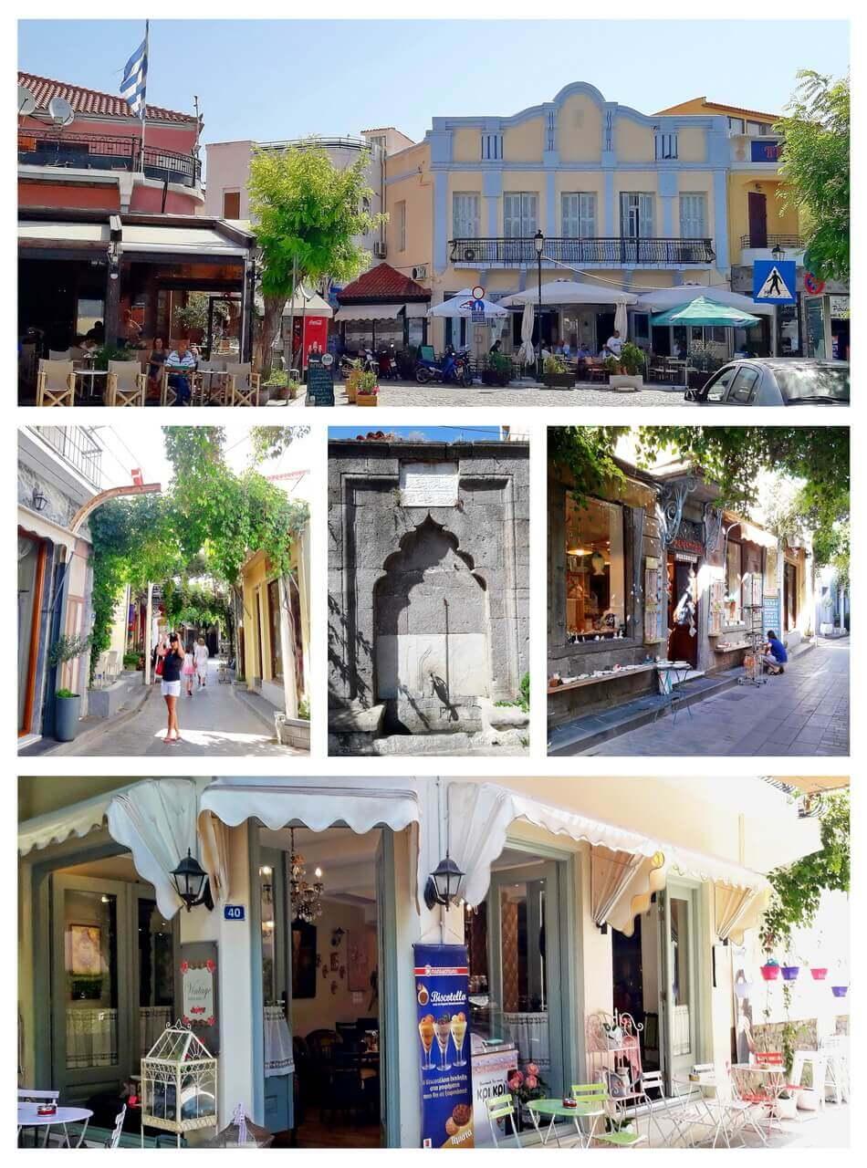 Myrina: caffes, alleys, the tourkish fountain, shops