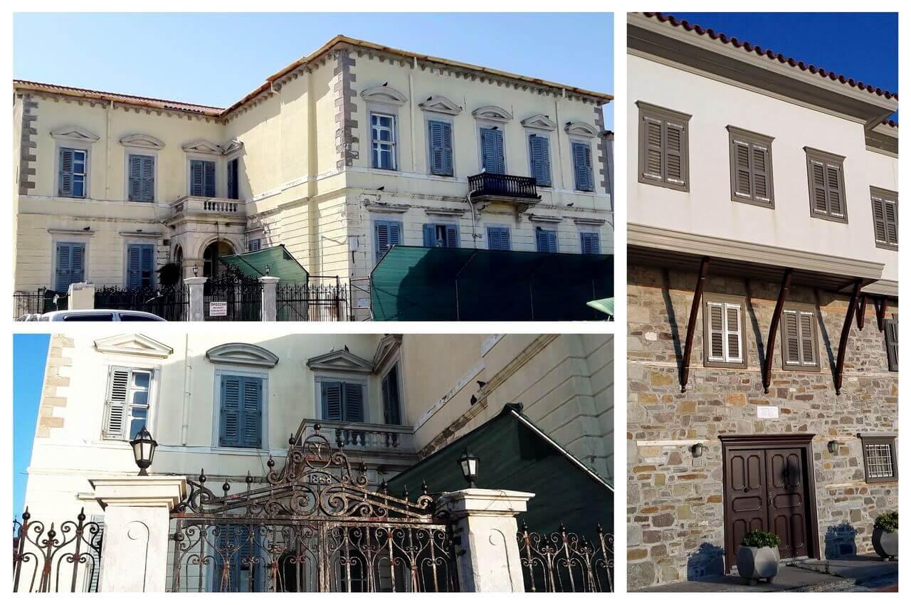 Myrina, palaces in seafront of Romeikos Gialos