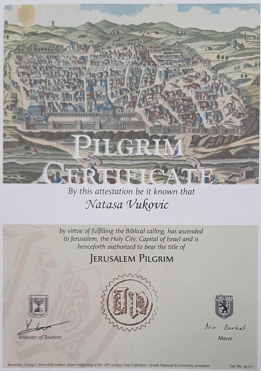 Pilgrim certificate Natasa Vukovic