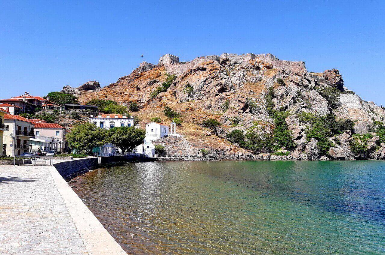 The castle of Myrina, view from Romeikos Gialos