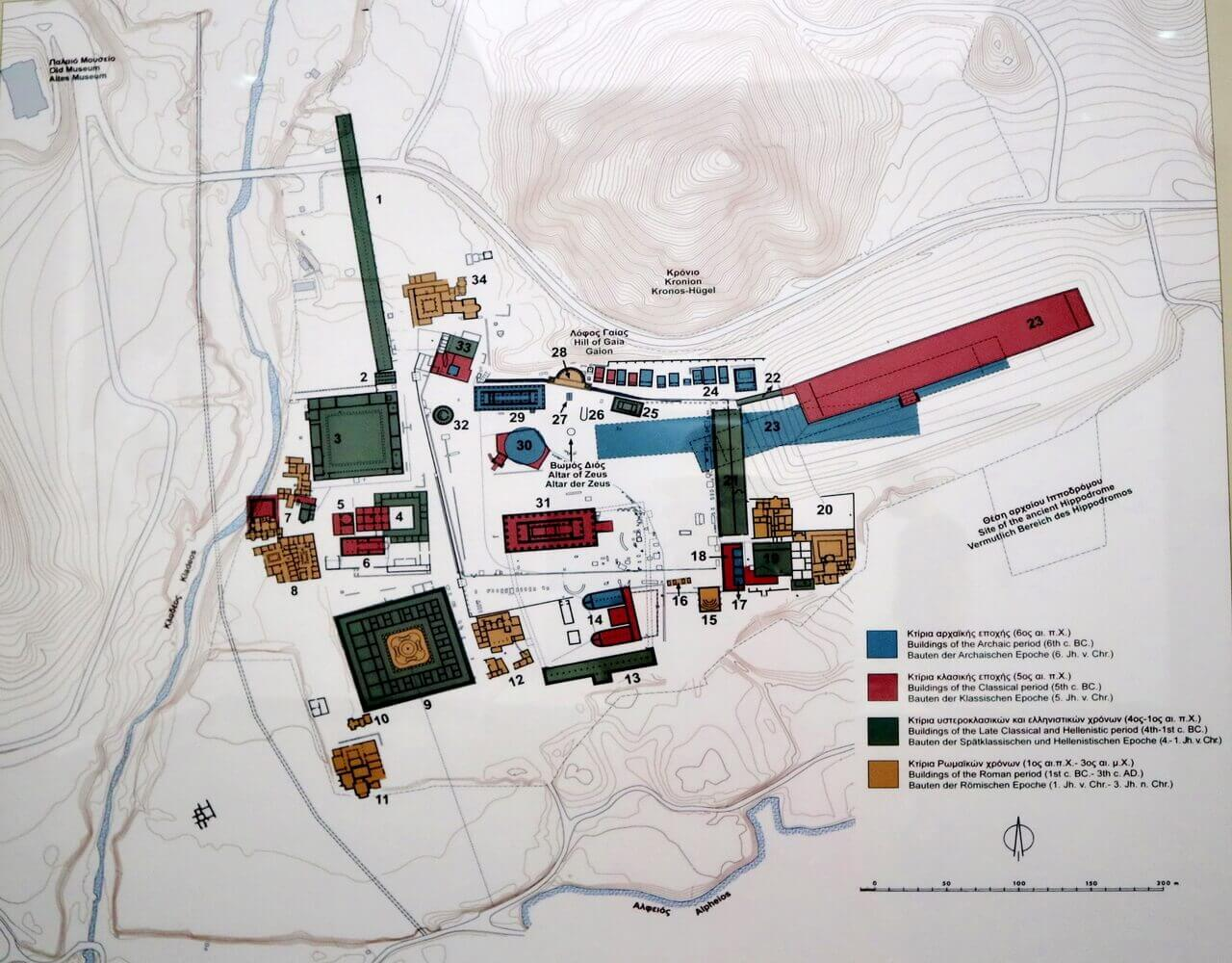 Map of the ancient Olympia