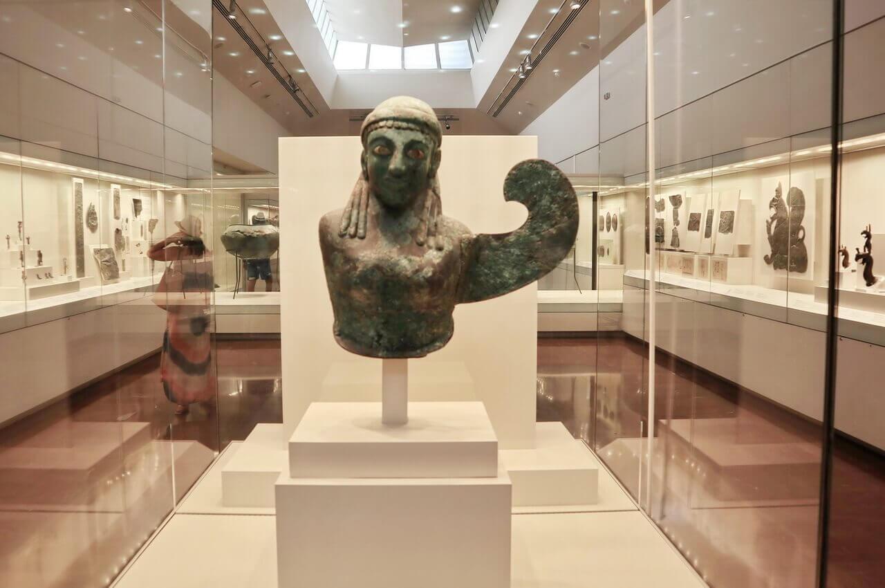 Bronze female winged figure, 590-580 BCE, Olympia Archeological Museum