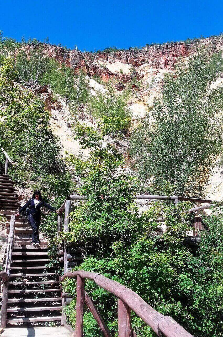 Wooden stairs to lookout
