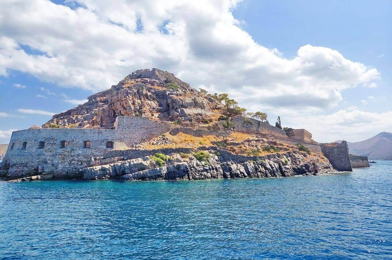 Spinalonga, the Michiel mezzaluna bastion, sea view